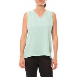 Abbigliamento Donna Top / T-shirt senza maniche De Fil En Aiguille Débardeur Voyelle L147 Turquoise Blu