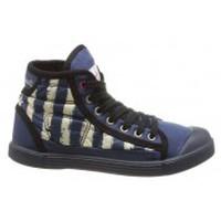 Scarpe Donna Sneakers alte Little Marcel Baskets Samba Up Stripes Bleu Blu