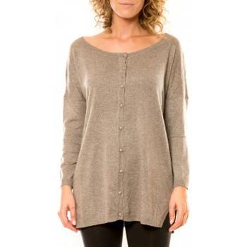Abbigliamento Donna Gilet / Cardigan Vision De Reve Vision de Rêve Gilet 12026 Taupe Marrone