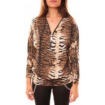 Abbigliamento Donna T-shirts a maniche lunghe Dress Code T-shirt May&CO 2529 Beige Beige