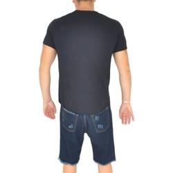 Abbigliamento Uomo T-shirt maniche corte Malu Shoes T- shirt basic uomo cotone nero modello over con inserti in tess NERO