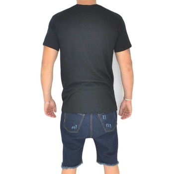 Abbigliamento Uomo T-shirt maniche corte Malu Shoes T- shirt basic uomo in cotone nero slim fit girocollo con cucitu NERO