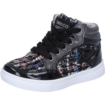 Scarpe Bambina Sneakers alte Enrico Coveri sneakers nero tessuto vernice BX822 Nero