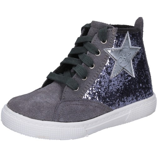 sneakers grigio glitter camoscio BX839