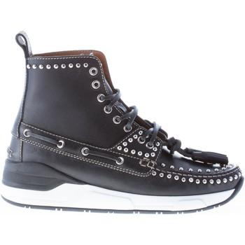 Scarpe Uomo Stivaletti Givenchy Uomo stivaletto Hamptons in pelle NERO con lacci e borchie nero