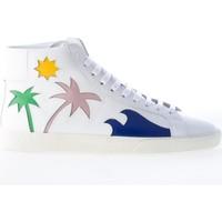 Scarpe Uomo Sneakers alte Saint Laurent Uomo sneaker in pelle BIANCO con dettaglio palme colorate bianco