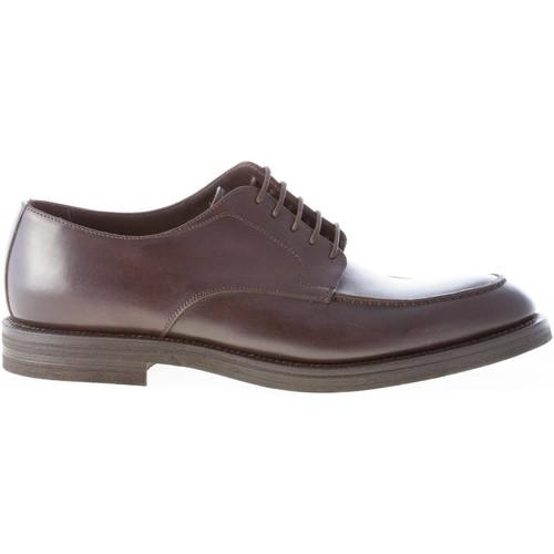 Migliore Uomo scarpa derby apron toe in pelle TESTA DI MORO marrone  Scarpe Richelieu Uomo 137