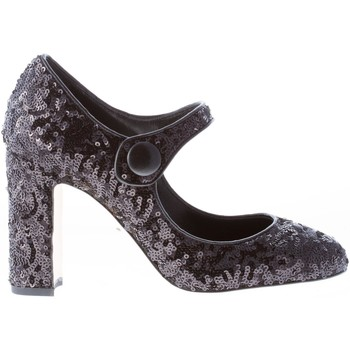 Scarpe Donna Décolleté D&G Donna decolletè Mary Jane in tessuto e paillettes NERO nero