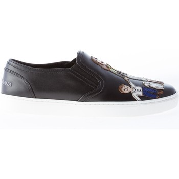 Scarpe Donna Slip on D&G Donna slip on Family Patch in pelle NERO nero