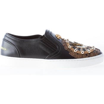 Donna slip on in pelle NERO con appliqué orologio