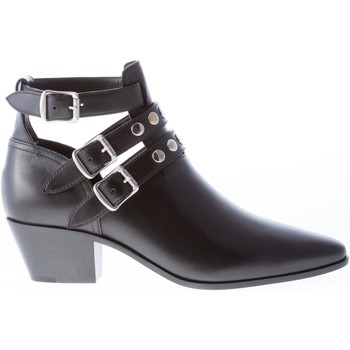 Scarpe Donna Stivaletti Saint Laurent Donna stivaletto in pelle NERO con cinturini fibbie e borchie nero