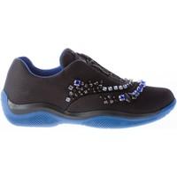 Scarpe Donna Sneakers basse Prada Donna sneaker elasticizzata in tessuto NERO cristalli colorati nero