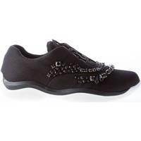 Scarpe Donna Sneakers basse Prada Donna sneaker elasticizzata in tessuto NERO con cristalli nero