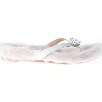 Scarpe Donna Infradito RAS Donna sandalo infradito in vernice BIANCO con pelliccia eco bianco