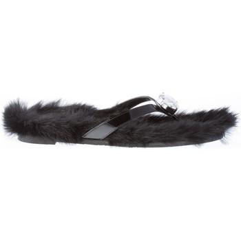 Scarpe Donna Infradito RAS Donna sandalo infradito in vernice NERO con pelliccia eco nero