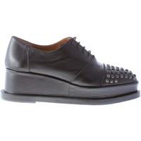 Scarpe Donna Stivaletti RAS Donna scarpa francesina in pelle NERO con borchie e zeppa nero