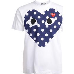 Abbigliamento Uomo T-shirt maniche corte Comme Des Garcons T-Shirt da uomo  bianca con cuore blu Bianco