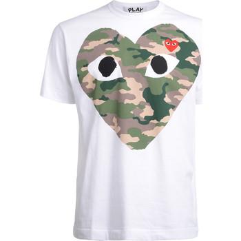 Abbigliamento Uomo T-shirt maniche corte Comme Des Garcons T-Shirt  con cuore camouflage Bianco