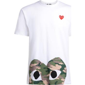 Abbigliamento Uomo T-shirt maniche corte Comme Des Garcons T-Shirt  bianca con cuore camouflage Bianco