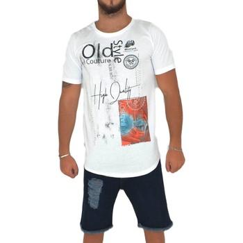 Abbigliamento Uomo T-shirt maniche corte Malu Shoes T-Shirt maglietta OLD STYLE con collo rotondo e maniche corte c BIANCO