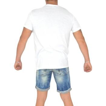 Abbigliamento Uomo T-shirt maniche corte Malu Shoes T- shirt basic uomo cotone bianco modello over con inserti in l BIANCO