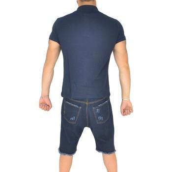 Abbigliamento Uomo Polo maniche corte Malu Shoes Polo basic uomo in cotone elastico blu semplice slim fit  con c BLU