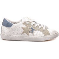 Scarpe Unisex bambino Sneakers basse 2 Stars 2-Star Sneakers Basse Bambini Pelle Bianco-Azzurro 2SB-1110 bianco, azzurro