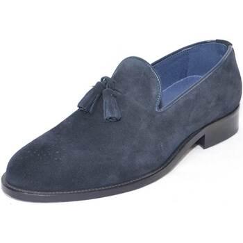 Scarpe Uomo Mocassini Malu Shoes mocassino camoscio blu art.ms4563 fondo cuoio con monogramma in BLU