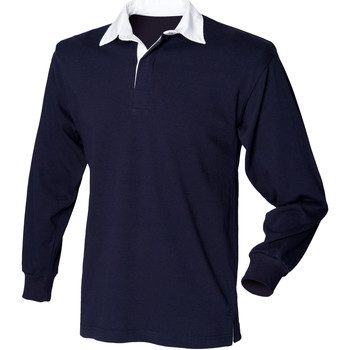 Abbigliamento Unisex bambino Polo maniche lunghe Front Row FR109 Blu navy