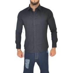 Abbigliamento Uomo Camicie maniche lunghe Malu Shoes Camicia uomo slim cotone nero collo rigido manica lunga basic ma NERO