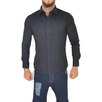 Abbigliamento Uomo Camicie maniche lunghe Malu Shoes Camicia uomo slim cotone nero collo rigido manica lunga basic m NERO