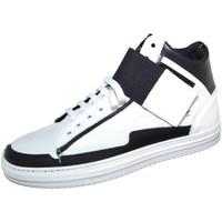 Scarpe Uomo Sneakers alte Made In Italy Sneakers alta art.8189 in vera pelle bianco/nero bicolore con st BIANCO