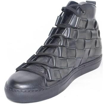 Scarpe Uomo Sneakers alte Malu Shoes Sneakers alta uomo pelle nero moda glamour intreccio a mano fond NERO