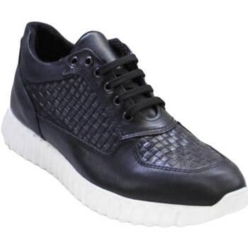 Scarpe Uomo Sneakers basse Malu Shoes Sneakers bassa stringata lacci intreccio nero art 900 vera pell NERO