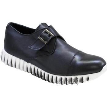 Scarpe Uomo Sneakers basse Malu Shoes Sneakers bassa stringata fibbia nero art 901 vera pelle made in NERO