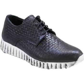 Scarpe Uomo Sneakers basse Malu Shoes Sneakers bassa stringata lacci intreccio nero art 901 vera pell NERO