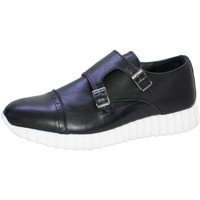 Scarpe Uomo Sneakers basse Malu Shoes Sneakers bassa uomo scarpe running doppia fibbia made in italy NERO