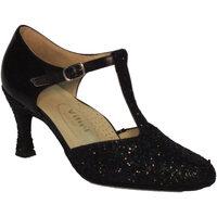 Scarpe Donna Sandali Vitiello Dance Shoes Scarpa da donna per ballo standard in nappa e cristallo colore n  la pelle di capretto nel colore nero è utilizzata nella parte p